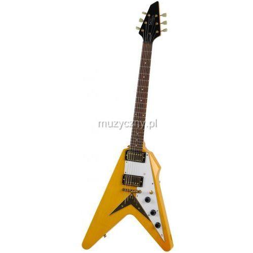 Vintage V60TA gitara elektryczna Flying V Trans Amber
