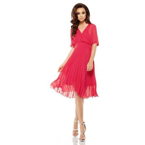 Malinowa Elegancka Kopertowa Sukienka z Plisowanym Dołem, GL255mal