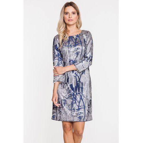 Żakardowa sukienka w srebrnych odcieniach - Potis & Verso, 1 rozmiar