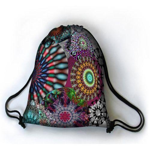 Designerski plecak worek Karuzela - czarny   szary   wielokolorowy   wielobarwny (5902241084618)
