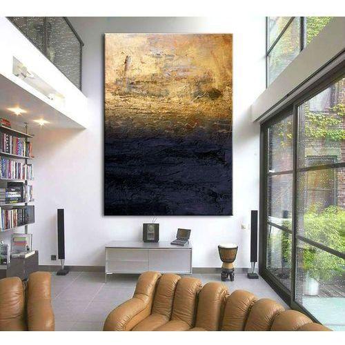 """Pracownia art.&texture Obrazy nowoczesne """"granatowa toń ze złotem"""" ręcznie malowane w technice strukturalnej duży 100x150cm"""