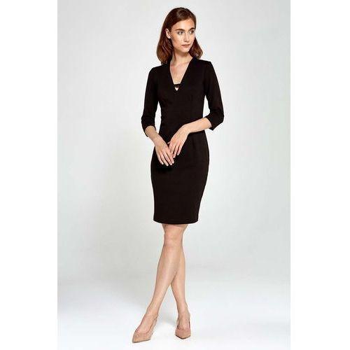 Czarna Sukienka Dopasowana z Dekoltem V z Rękawem 3/4, w 5 rozmiarach