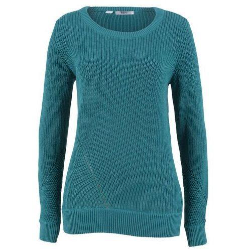 Sweter bawełniany, długi rękaw bonprix kobaltowo-turkusowy, bawełna