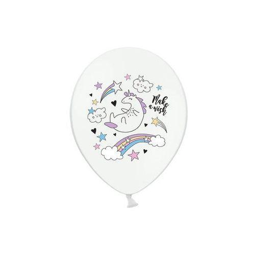 Twojestroje.pl Balon jednorożec z tęczą biały 30cm 1szt