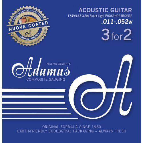 (665168) phosphor bronze nuova powlekane struny do gitary akustycznej - 3pack super-light.011 marki Adamas