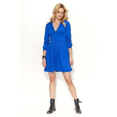 Chabrowa Sukienka Rozkloszowana z Dekoltem V, kolor niebieski
