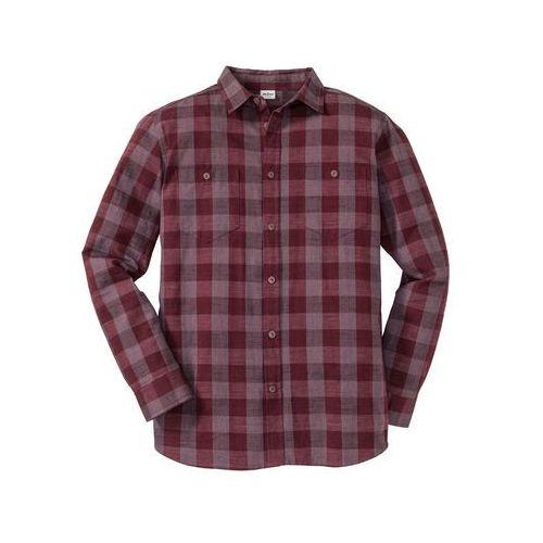 Koszula z długim rękawem, ze sztywniejszego materiału, Regular Fit bonprix bordowy w kratę, w 6 rozmiarach
