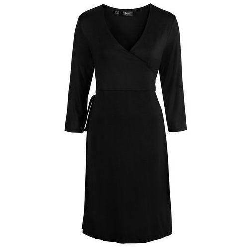 Bonprix Sukienka ciążowa shirtowa, kopertowa czarny