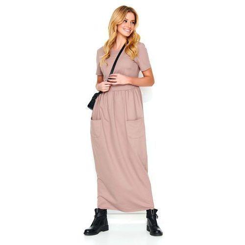 Makadamia Cappuccino długa dresowa sukienka z kieszeniami