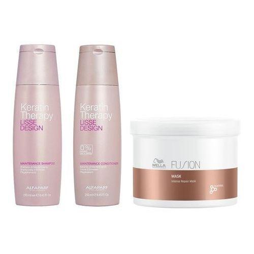 keratin therapy maintenance and fusion intense repair mask | zestaw do wygładzenia i odżywienia włosów: szampon 250ml + odżywka 250ml + maska 500ml marki Alfaparf