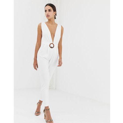Asos design deep plunge jumpsuit with buckle belt and peg leg - white marki Asos curve