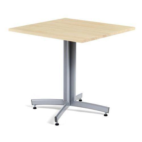 Tradycyjny stół do kawiarni z litego drewna bukowego i stelażem w kolorze aluminium