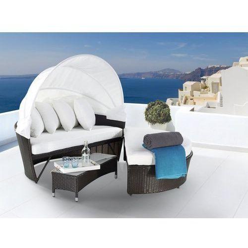 Rattanowy fotel kosz ogrodowy baldachim - sylt lux marki Beliani