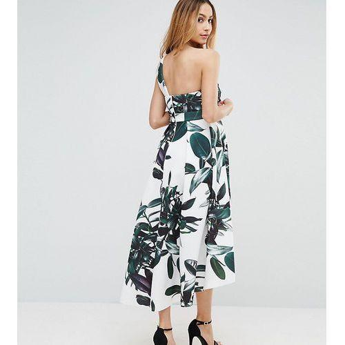 scuba palm print dip back one shoulder midi dress - multi marki Asos maternity