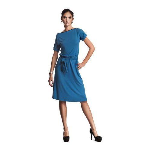 Niebieska Wyjątkowa Sukienka z Suwakiem, kolor niebieski