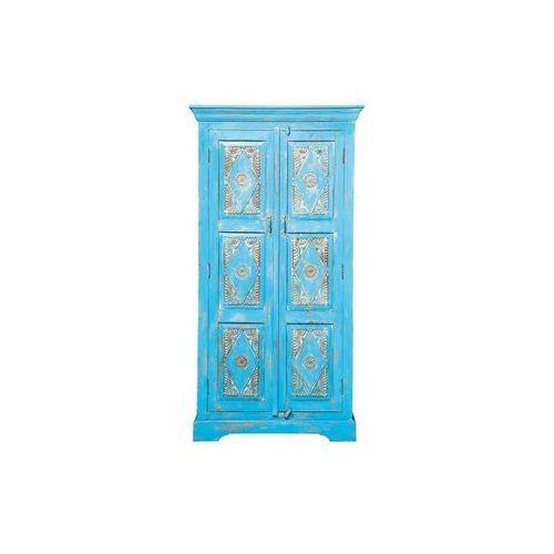 Taberna Postarzana Szafa Niebieska 2 Drzwiowa Drewno Mango lakierowane - 76923, Kare Design