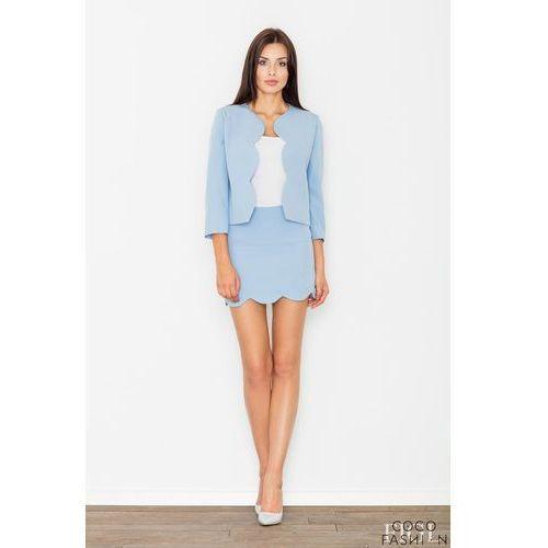 Niebieski Komplet Mini Spódnica + Krótka Marynarka, kolor niebieski
