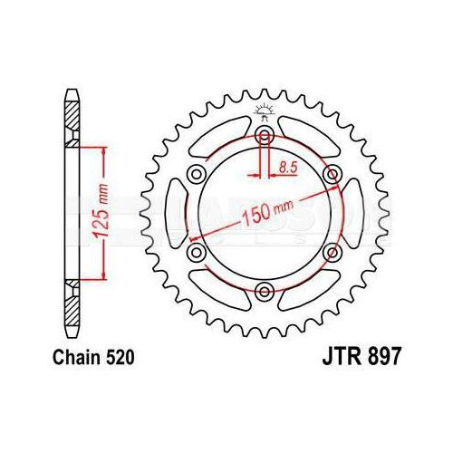 Zębatka tylna stalowa jt 897-50, 50z, rozmiar 520 2301380 ktm exc 530, lc4-e 640 marki Jt sprockets