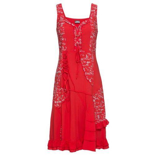 Sukienka dzianinowa bonprix kremowo-czarny, kolor czerwony