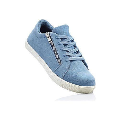 Sneakersy skórzane bonprix niebieski dżins
