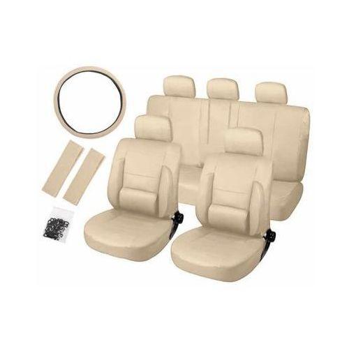 Cars accessories co. Zestaw ortopedycznych pokrowców samochodowych (eko-skóra) - beżowe.