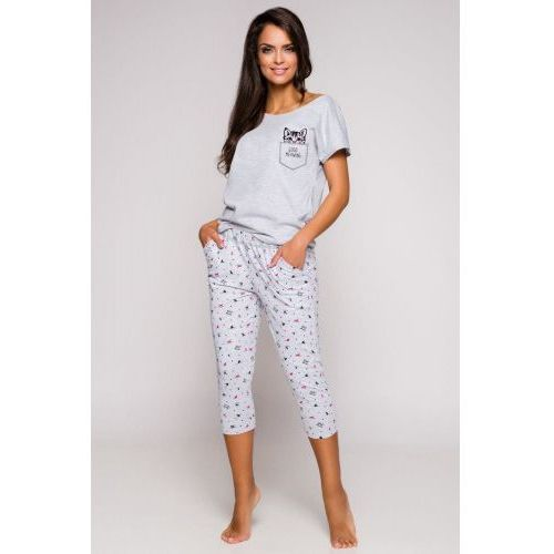 Bawełniana piżama damska TARO 2168 Etna kotki szara, 2168 Etna kotki