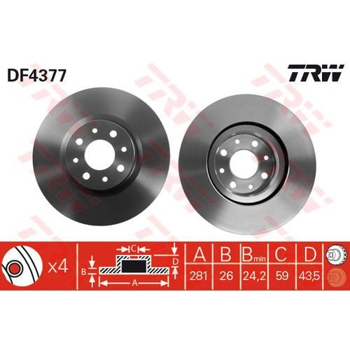 TARCZA HAM TRW DF4377 ALFA MITO 1.6JTDM 08-/ FIAT BRAVO 1.9D MJ 07-, STILO 1.9D MJ 05- (3322937402205)