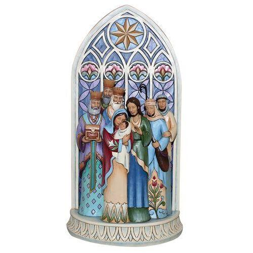 Jim shore Szopka święta rodzina trzech króli the light of the world (cathedral window nativity) 4049400 figurka ozdoba świąteczna