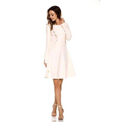 Klasyczna sukienka z długim rękawem L271 pudrowy róż, kolor różowy