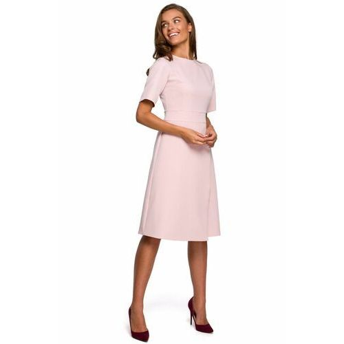S240 sukienka z dołem kopertowym - pudrowa, Style