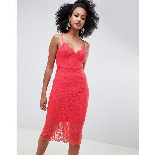 lace midi dress - orange, New look