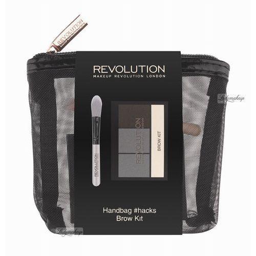 Handbag hacks brow kit zestaw eyebrow powder puder do brwi + eyebrow tint cień do brwi + brow enhancing wax - kosmetyczka marki Makeup revolution