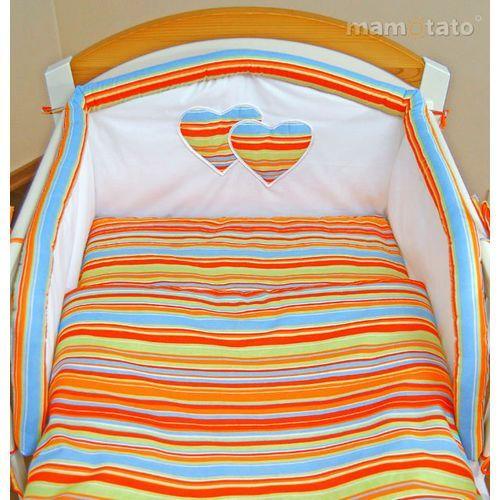 MAMO-TATO 4-el pościel flanelowa do wózka Serduszka w paseczkach pomarańczowych (komplet pościeli dla dziecka) od MAMO-TATO