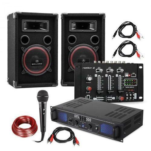 """zestaw dj pa """"dj-14"""" usb wzmacniacz pa mikser usb 2 x głośnik mikrofon karaoke marki Electronic-star"""