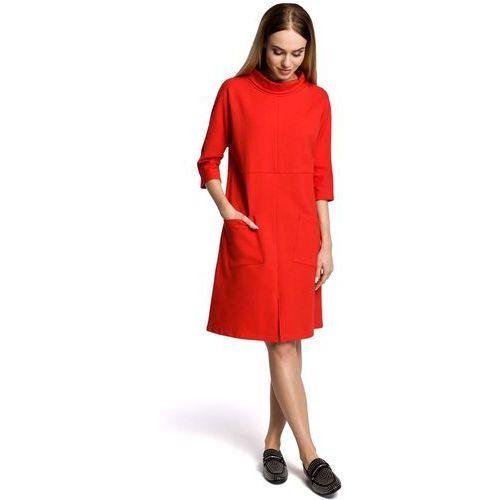5904f13a95 Czerwona sukienka trapezowa przed kolano w sportowym stylu z kieszeniami