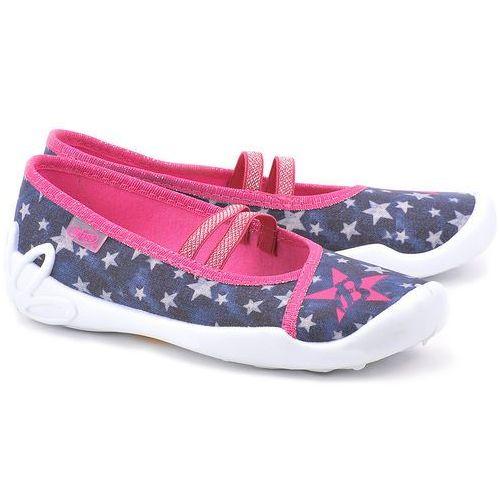 Kapcie Gwiazdki - Granatowe Bawełniane Baleriny Dziecięce - 5907669116637 ze sklepu MIVO Shoes Shop On-line
