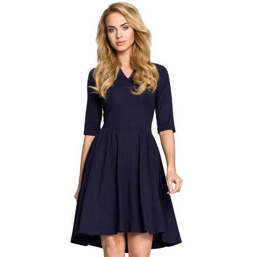 75b7ed93a5 Moe Granatowa sukienka rozkloszowana z rękawem 1 2 99