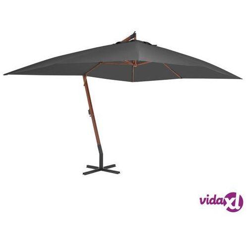 Vidaxl wiszący parasol z drewnianym słupkiem, 400x300 cm, antracytowy (8718475697305)