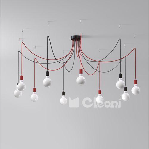 lampa wisząca OCTOPUS 10xE27 z różowym przewodem, CLEONI 1201A10F1+