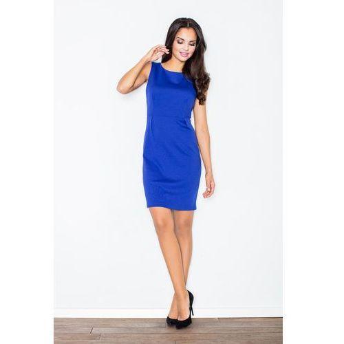 Niebieska modna ołówkowa sukienka bez rękawów marki Figl