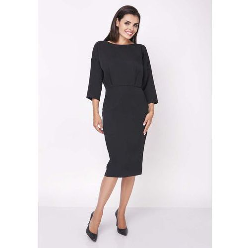 8ab5604283 Czarna elegancka wyjściowa sukienka z rozszerzanym rękawem 3 4