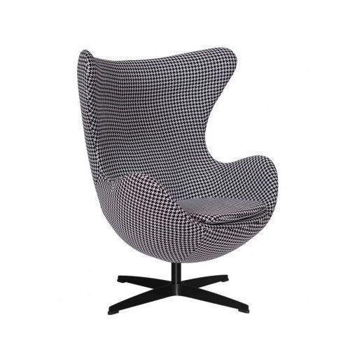 Fotel JAJO pepitka insp. Egg Chair - podstawa czarna, kolor czarny