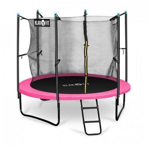 rocketgirl 250 trampolina 250cm siatka bezpieczeństwa wewnątrz, szeroka drabinka, różowa marki Klarfit