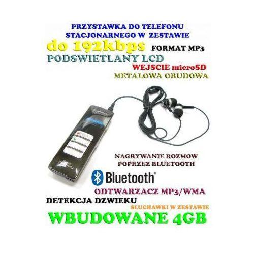 Profesjonalny Cyfrowy Rejestrator Dźwięku (4GB) + Bluetooth + Zapis Rozmów Tel. + MP3 + VOX itd.