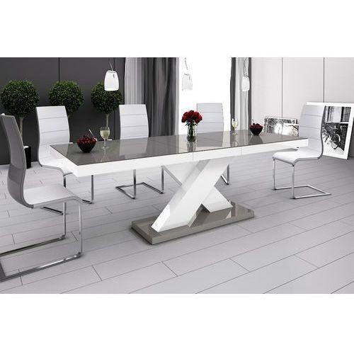 Stół rozkładany w wysokim połysku Xenon szaro-biały