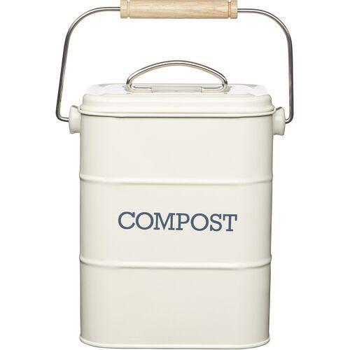 Kompostownik mały, metalowy, 3-litry Living Nostalgia Kitchen Craft kremowy (LNCOMPCRE), lncompcre