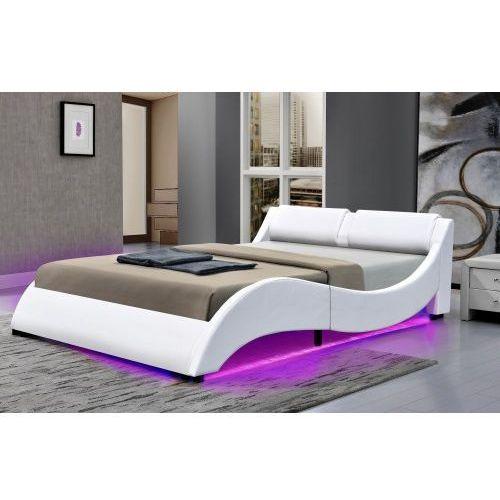 Łóżko tapicerowane do sypialni 140x200 texas led białe marki Meblemwm
