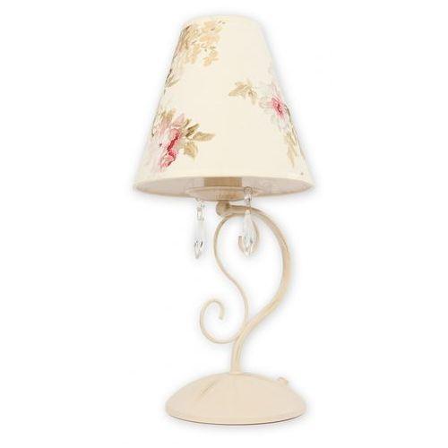VELIO ABAŻUR lampka biurkowa 1 punktowa - antyczna biel KWIATY - sprawdź w Lampalandia