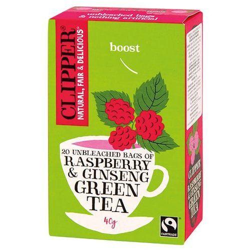 Zielona herbata z żeń-szeniem i malinowym aromatem 40g - marki Clipper