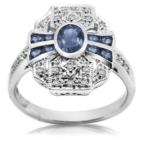 Royal Diamonds - złoty pierścionek z brylantami i szafirami marki Biżuteria YES